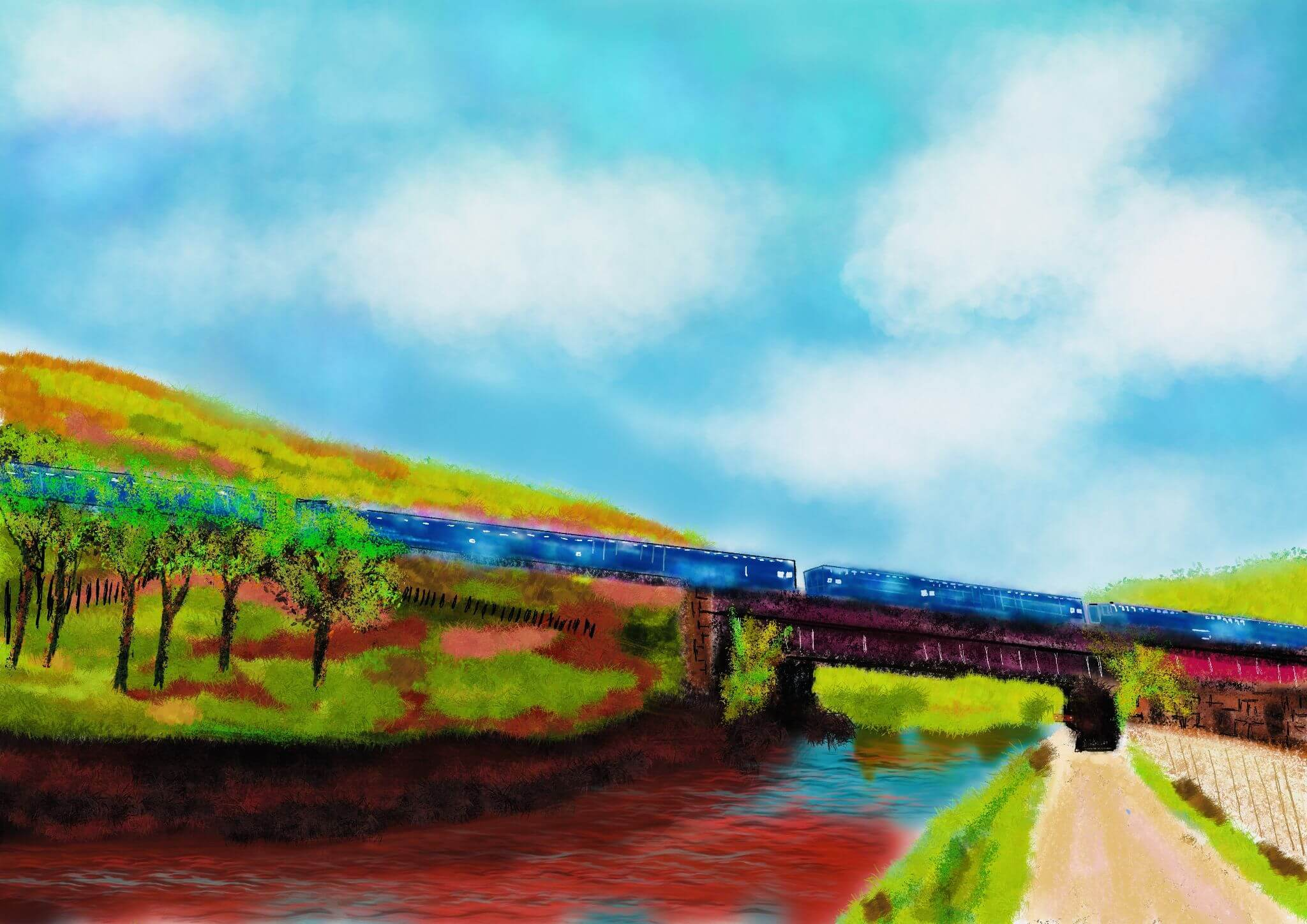 Blue train over Rochdale Canal, Todmorden