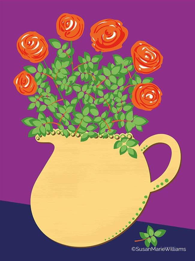 Yellow Jug with Roses
