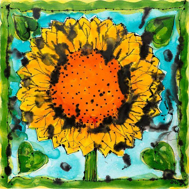 Sunflower with Turquoise